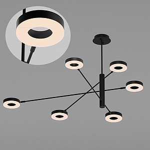 現代圓片吊燈模型