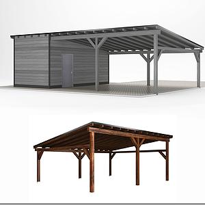 3d現代搭建木停車棚模型