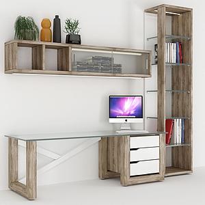 現代實木電腦桌模型