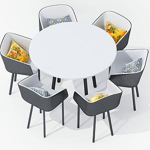 3d現代休閑桌椅餐桌椅模型