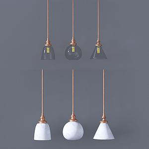 現代透明玻璃吊燈模型