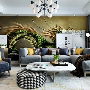3d現代客廳模型