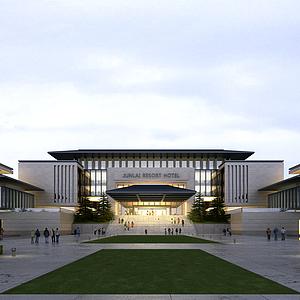 3d新中式會所酒店建筑外觀模型