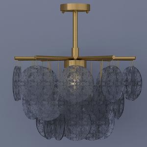 現代金屬玻璃圓片吊燈模型