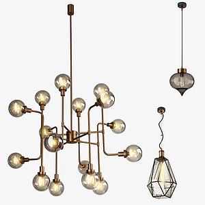 現代吊燈組合模型