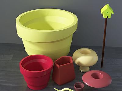 3d現代盆栽塑料盆盆栽工具模型