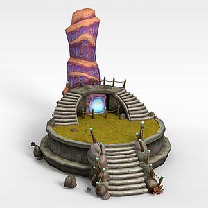 古代游戲場景道具模型