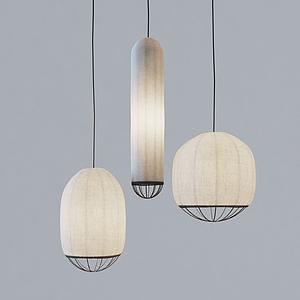 新中式杏色吊燈模型