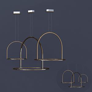 現代鐵藝幾何吊燈模型