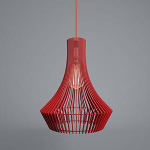 现代栅栏式红吊灯模型
