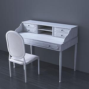 美式梳妝臺椅組合模型