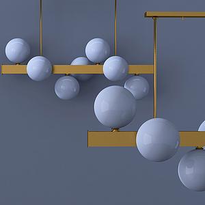 現代燈泡吊燈模型