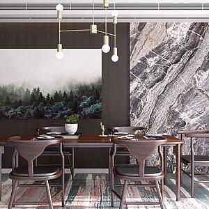3d新中式餐廳餐桌餐模型