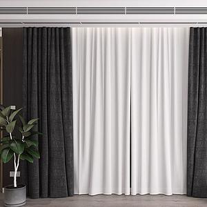 現代窗簾紗簾3d模型