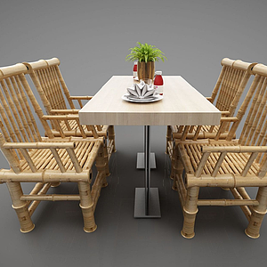 3d竹椅模型