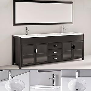 現代雙人式洗手臺鏡子模型