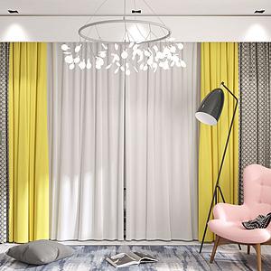 現代窗簾紗簾組合模型