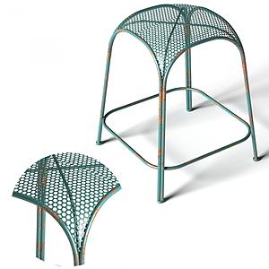 現代拱形網狀鐵藝休閑凳模型