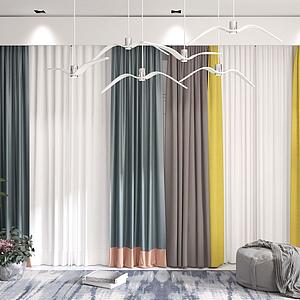 3d现代窗帘纱帘模型