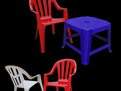 3d現代塑料椅凳模型
