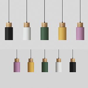 現代圓柱體吊燈模型