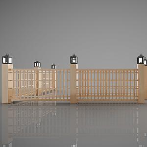 中式圍欄模型