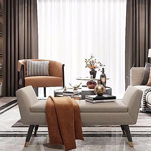 3d精品后現代輕奢客廳模型
