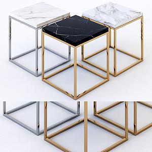 現代大理石方凳模型