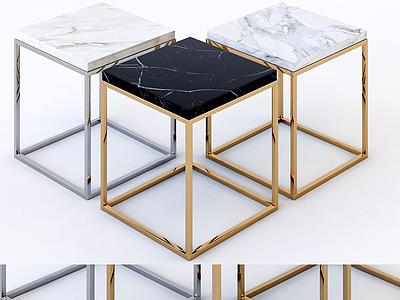 現代大理石方凳模型3d模型