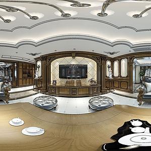 歐式全景客廳模型
