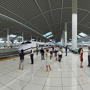 3d火车站模型