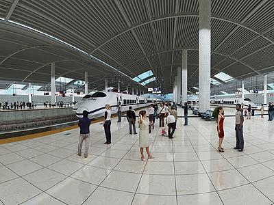 3d現代化<font class='myIsRed'>火車</font>站高鐵站模型