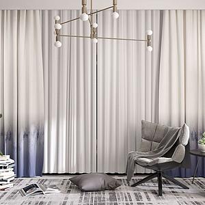 現代窗簾紗簾模型