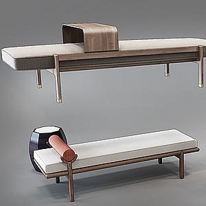 新中式現代床尾凳模型