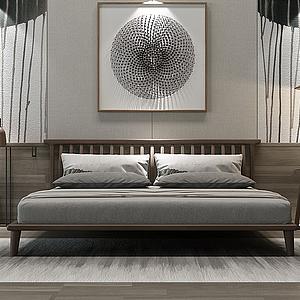 3d新中式床模型