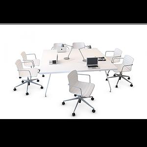 3d方形辦公桌椅模型