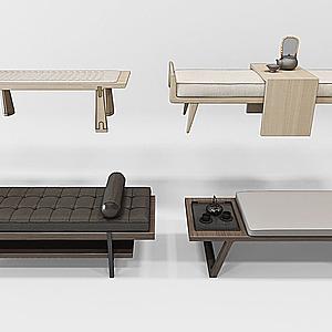 3d新中式床尾凳模型