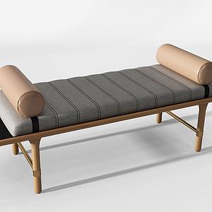 3d新中式床尾凳床榻模型