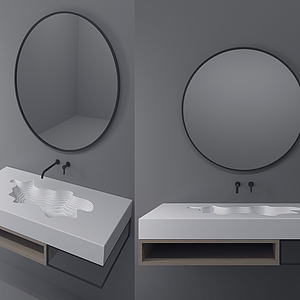 現代衛浴鏡洗手臺水龍頭模型
