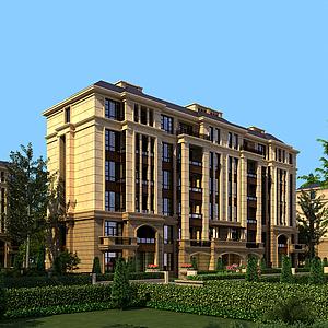 3d歐式多層透視住宅小區配景模型