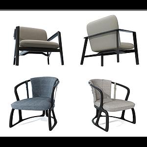 新中式休閑椅子組合模型