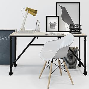 3d北欧原木色木艺书桌模型
