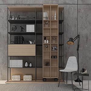 3d北欧工业陈列书柜书架模型