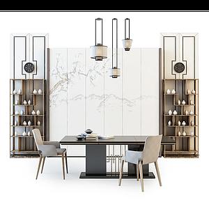 3d简约书桌椅组合模型