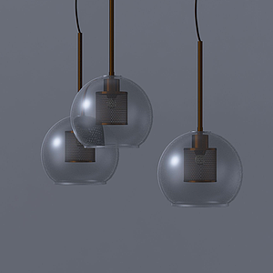 現代玻璃罩圓柱吊燈模型