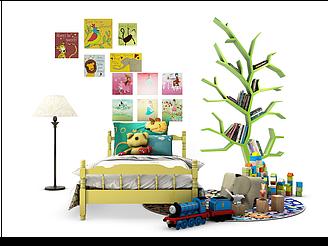 兒童房床樹書架裝飾畫組合模型