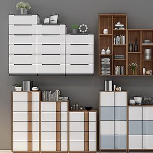 北歐現代書柜模型