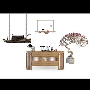 书桌椅组合模型