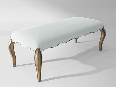 歐式法式腳踏床尾凳模型3d模型
