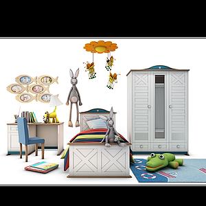 3d儿童床玩具书桌模型